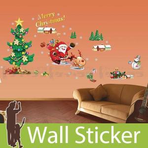 ウォールステッカー 壁 クリスマス サンタクロース・クリスマスツリー50×70 貼ってはがせる のりつき 壁紙シール ウォールシール 植物 木 花|wallstickershop