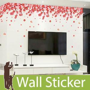 ウォールステッカー 壁 花 梅の花と蝶 貼ってはがせる のりつき 壁紙シール ウォールシール 植物 木 花|wallstickershop