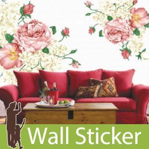 ウォールステッカー 壁 花 ピンクのバラ 貼ってはがせる のりつき 壁紙シール ウォールシール 植物 木 花|wallstickershop