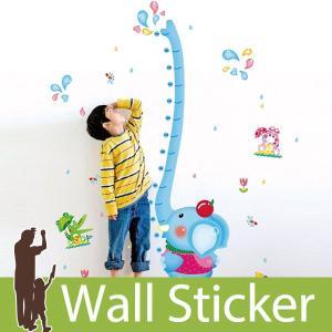 ウォールステッカー 壁 身長計 ぞう ゾウ 貼ってはがせる のりつき 壁紙シール ウォールシール ウォールステッカー本舗 wallstickershop