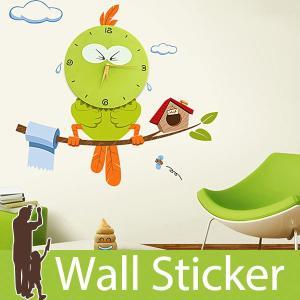ウォールステッカー キャラクター 北欧 時計 クロック 貼ってはがせる のりつき 紙シール ウォールシール 動物|wallstickershop