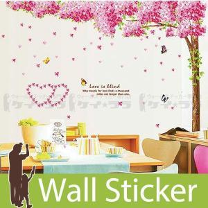 ウォールステッカー 壁 木 花 桜と蝶 貼ってはがせる のりつき 壁紙シール ウォールシール 植物 木 花|wallstickershop