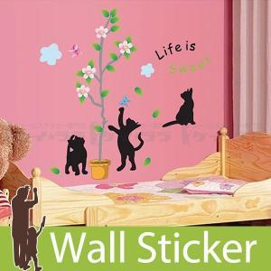 ウォールステッカー 壁 猫 戯れる黒猫(大) 貼ってはがせる のりつき 壁紙シール ウォールシール ウォールステッカー本舗|wallstickershop