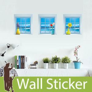ウォールステッカー木 海の見える小窓 窓型 貼ってはがせる のりつき 壁紙シール ウォールシール|wallstickershop