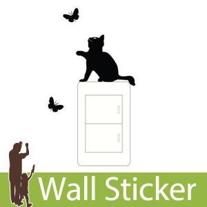 ウォールステッカー トイレ スイッチ コンセント 猫と蝶 転写タイプ 貼ってはがせる のりつき 壁紙シール ウォールシール 動物|wallstickershop