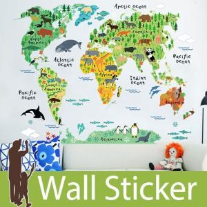 ウォールステッカー 壁 世界地図 動物の世界地図 貼ってはがせる のりつき 壁紙シール ウォールシール ウォールステッカー本舗|wallstickershop