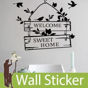 ウォールステッカー 壁 英字 英文字 ウェルカム ホーム 転写式 貼ってはがせる のりつき 壁紙シール ウォールシール 植物 木 花|wallstickershop