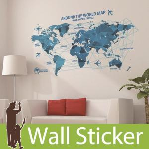ウォールステッカー 世界地図 アルファベット 貼ってはがせる のりつき 壁紙シール ウォールシール ...