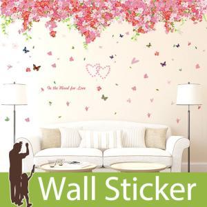 ウォールステッカー ピンクの花 木 蝶 貼ってはがせる のりつき 壁紙シール ウォールシール 植物 木 花|wallstickershop