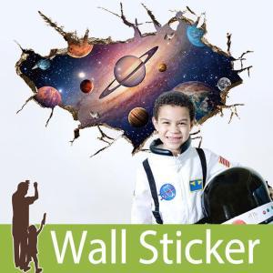 トリックアート ウォールステッカー だまし絵 北欧 トイレ リビング 子供部屋 風景 景色 宇宙 星 惑星 ひび割れ|wallstickershop