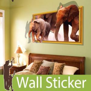 トリックアート ウォールステッカー だまし絵 北欧 トイレ リビング 子供部屋 動物 象 ゾウ 自然|wallstickershop