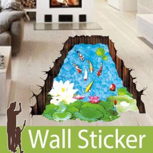 トリックアート ウォールステッカー だまし絵 北欧 トイレ リビング 子供部屋 和風 鯉 葉 水 水連 池 魚 自然|wallstickershop