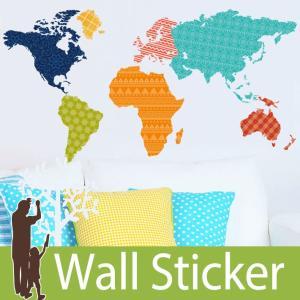 ウォールステッカー カラフル 世界地図 ワールドマップ 模様 北欧 wall sticker トイレ リビング 貼ってはがせる|wallstickershop