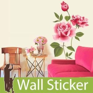 ウォールステッカー 両面印刷 バラ 大輪の花 ピンク 大きいサイズ 北欧 大人かわいい モダン トイレ リビング 貼ってはがせる インテリアシール|wallstickershop