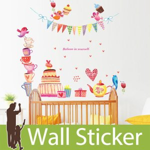 ウォールステッカー 両面印刷 手書き風 鳥 カップ ケーキ ハート お誕生会 かわいい モダン トイレ リビング 貼ってはがせる インテリアシール|wallstickershop