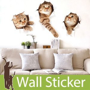ウォールステッカー トリックアート ネコ 猫 茶色のねこ 穴 飛び出る 北欧 大人かわいい モダン トイレ リビング 貼ってはがせる インテリアシール|wallstickershop