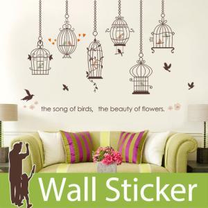 ウォールステッカー 鳥かご 鳥 英字 北欧 大人かわいい モダン トイレ リビング 貼ってはがせる インテリアシール|wallstickershop