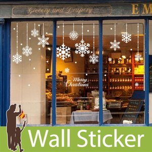 ウォールクリスマス 雪 装飾 結晶 白 ホワイト 英語 英字 英文 メリークリスマス 貼ってはがせる 雪の結晶 オーナメント 北欧|wallstickershop