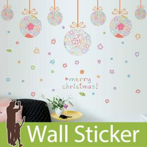 ウォールクリスマス 雪 装飾 手書き風 カラフル 星 英文 英語 英字 貼ってはがせる オーナメント 北欧 ポップ|wallstickershop