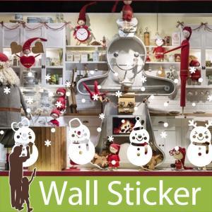 ウォールクリスマス 雪 装飾 結晶 白 ホワイト 雪だるま 貼ってはがせる 雪の結晶 オーナメント 北欧|wallstickershop