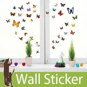 ウォールステッカー 蝶 カラフル バタフライ アゲハ蝶 貼ってはがせる ステッカー カラフル バタフライ 華やか キレイ ダイニング 北欧|wallstickershop