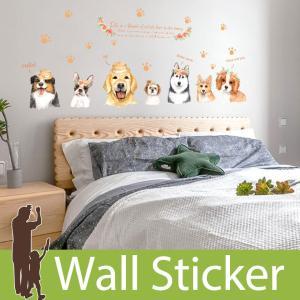 ウォールステッカー 犬 いぬ ドッグ 花 肉球 あしあと 英字 英文 英語 花冠 帽子 (お花と7匹の犬) 貼ってはがせる 北欧 インテリアシール|wallstickershop