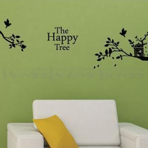 ウォールステッカー 壁 木 英文字 ザー・ハッピー・ツリー 転写タイプ 貼ってはがせる のりつき 壁紙シール ウォールシール 植物 木 花|wallstickershop