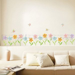 ウォールステッカー 壁 花 花と蝶 貼ってはがせ...の商品画像