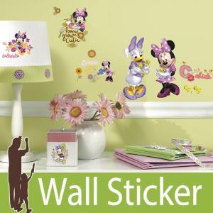 ウォールステッカー キャラクター ディズニー (ミニーマウスキューティ) ルームメイツ RoomMates 壁紙シール 貼ってはがせる のりつき ウォールシール|wallstickershop