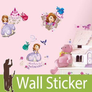 ウォールステッカー キャラクター ディズニー (ちいさなプリンセス ソフィア) ルームメイツ RoomMates 壁紙シール 貼ってはがせる のりつき ウォールシール|wallstickershop