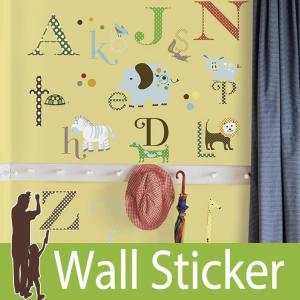 ウォールステッカー アニマル 動物 アルファベット (アニマルアルファベット) ルームメイツ RoomMates 壁紙シール 貼ってはがせる のりつき ウォールシール|wallstickershop