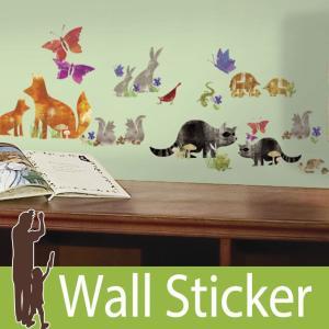 ウォールステッカー アニマル 動物 (ウッドランドフレンズ) ルームメイツ RoomMates 壁紙シール 貼ってはがせる のりつき ウォールシール|wallstickershop