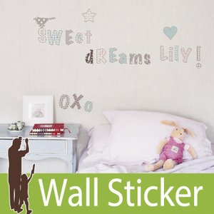 ウォールステッカー アルファベット (KL ロマンティックアルファベット) ルームメイツ RoomMates 壁紙シール 貼ってはがせる のりつき ウォールシール|wallstickershop