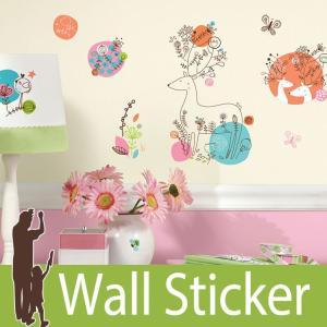 ウォールステッカー アニマル 動物 (zutano ピクシー) ルームメイツ RoomMates 壁紙シール 貼ってはがせる のりつき ウォールシール|wallstickershop