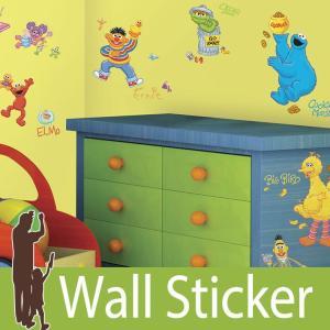 ウォールステッカー キャラクター (セサミストリート) ルームメイツ RoomMates 壁紙シール 貼ってはがせる のりつき ウォールシール|wallstickershop