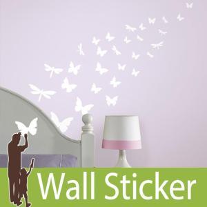 ウォールステッカー 蝶 白 蓄光 (バタフライ&ドラゴンフライ) ルームメイツ RoomMates 壁紙シール 貼ってはがせる のりつき ウォールシール|wallstickershop