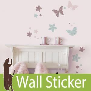 ウォールステッカー 蝶 (KL ロマンティックバタフライ) ルームメイツ RoomMates 壁紙シール 貼ってはがせる のりつき ウォールシール|wallstickershop
