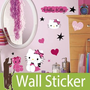 ウォールステッカー キャラクター (ハローキティクチュール) ルームメイツ RoomMates 壁紙シール 貼ってはがせる のりつき ウォールシール|wallstickershop
