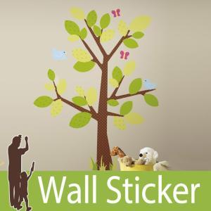 ウォールステッカー 鳥 蝶 (キッズツリー) ルームメイツ RoomMates 壁紙シール 貼ってはがせる のりつき ウォールシール|wallstickershop