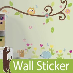 ウォールステッカー 動物 花 (スクロールツリーブランチ) ルームメイツ RoomMates 壁紙シール 貼ってはがせる のりつき ウォールシール|wallstickershop