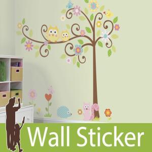 ウォールステッカー メガサイズ 動物 花 (スクロールツリー) ルームメイツ RoomMates 壁紙シール 貼ってはがせる のりつき ウォールシール|wallstickershop