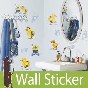 ウォールステッカー アヒル 泡 (バブルバス) ルームメイツ RoomMates 壁紙シール 貼ってはがせる のりつき ウォールシール|wallstickershop