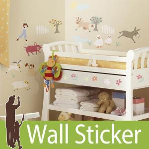 ウォールステッカー 動物 キャラクター (ジェムズフレンドファーム) ルームメイツ RoomMates 壁紙シール 貼ってはがせる のりつき|wallstickershop