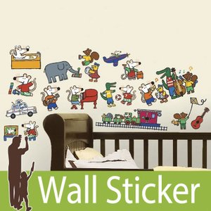 ウォールステッカー 動物 キャラクター (メイシー すてきなせいかつ) ルームメイツ RoomMates 壁紙シール 貼ってはがせる のりつき|wallstickershop