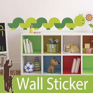 ウォールステッカー 虫 (OD ブックワ−ム) ルームメイツ RoomMates 壁紙シール 貼ってはがせる のりつき ウォールシール|wallstickershop