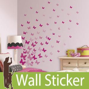 ウォールステッカー 蝶 (ピンクフラッターバタフライ) ルームメイツ RoomMates 壁紙シール 貼ってはがせる のりつき ウォールシール|wallstickershop