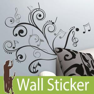 ウォールステッカー 音符 モノトーン (ミュージックノート スクロール) ルームメイツ RoomMates 壁紙シール 貼ってはがせる のりつき|wallstickershop