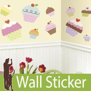 ウォールステッカー スイーツ (カップケーキ(ジャイアント)) ルームメイツ RoomMates 壁紙シール 貼ってはがせる のりつき ウォールシール|wallstickershop