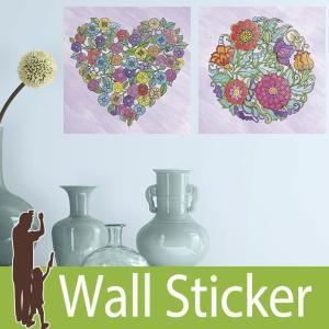 ウォールステッカー 花 ハート (ぬり絵ウォールステッカー フラワー&ハート) ルームメイツ RoomMates 壁紙シール 貼ってはがせる|wallstickershop