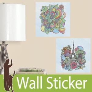 ウォールステッカー 建物 (ぬり絵ウォールステッカー エッフェル塔) ルームメイツ RoomMates 壁紙シール 貼ってはがせる|wallstickershop
